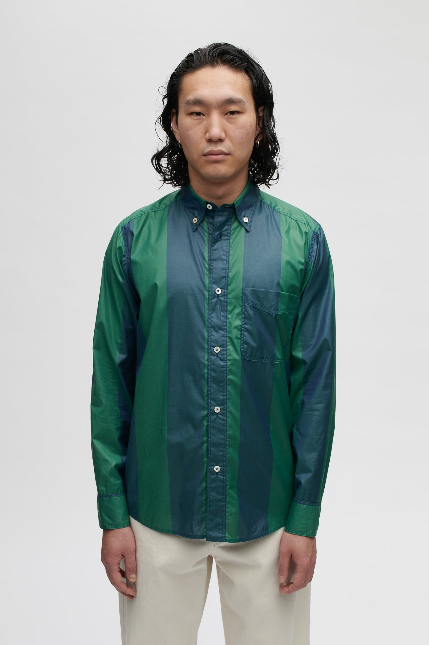 Seaton button down shirt bold jade stripe