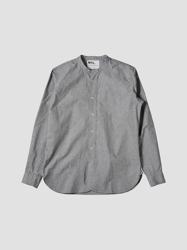 Collarless grey shirt made by Margaret Howell