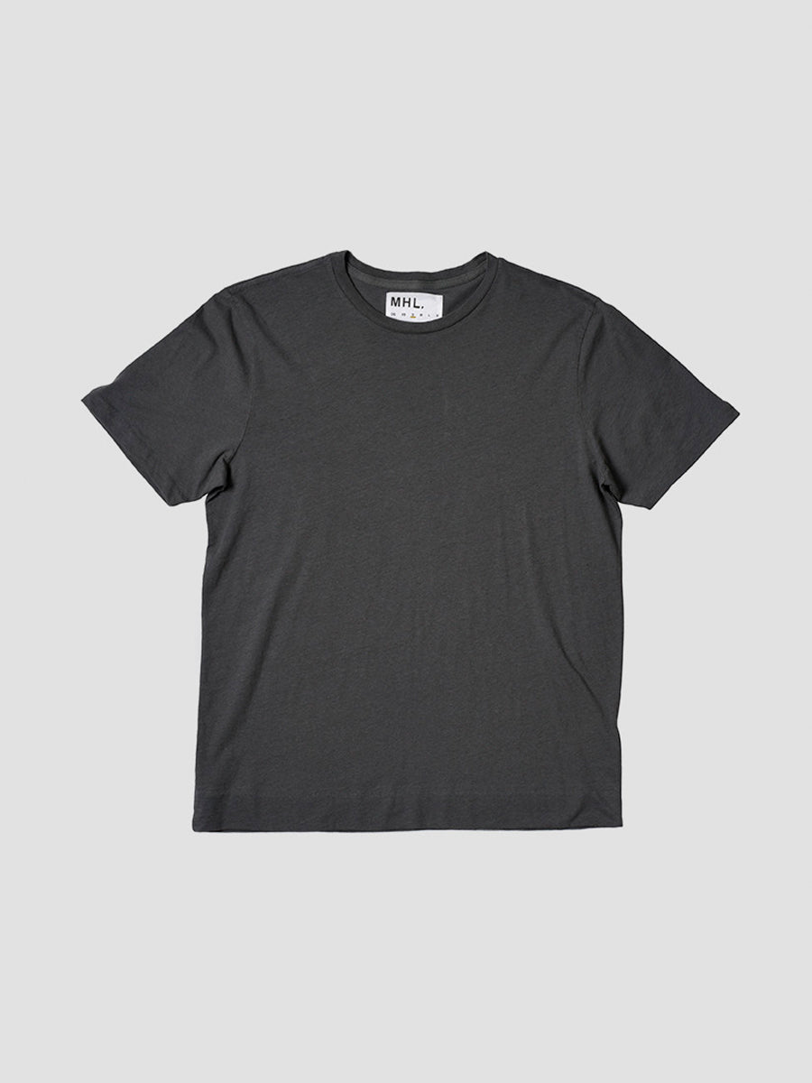 Basic T-shirt in cotton/linen jersey in grey