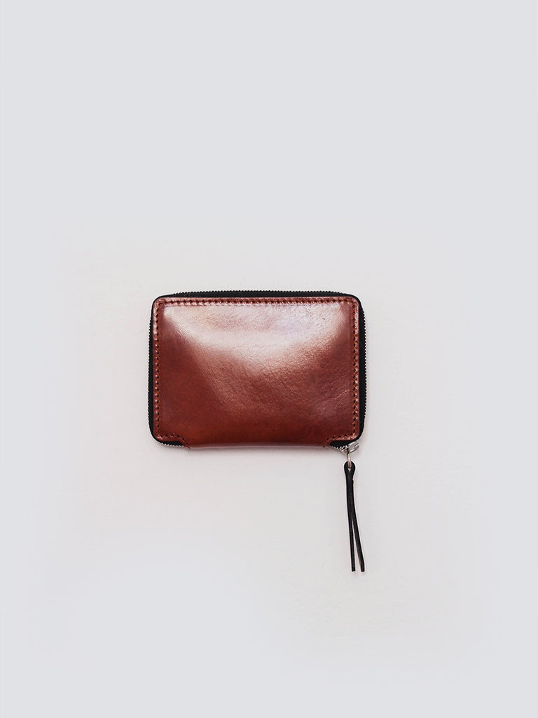 Zip around wallet in brown leather