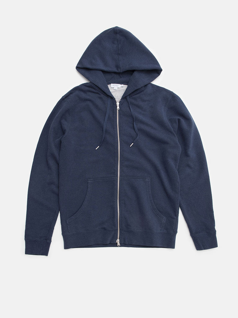 Sunspel. Cotton loopback zip hoody in navy melange