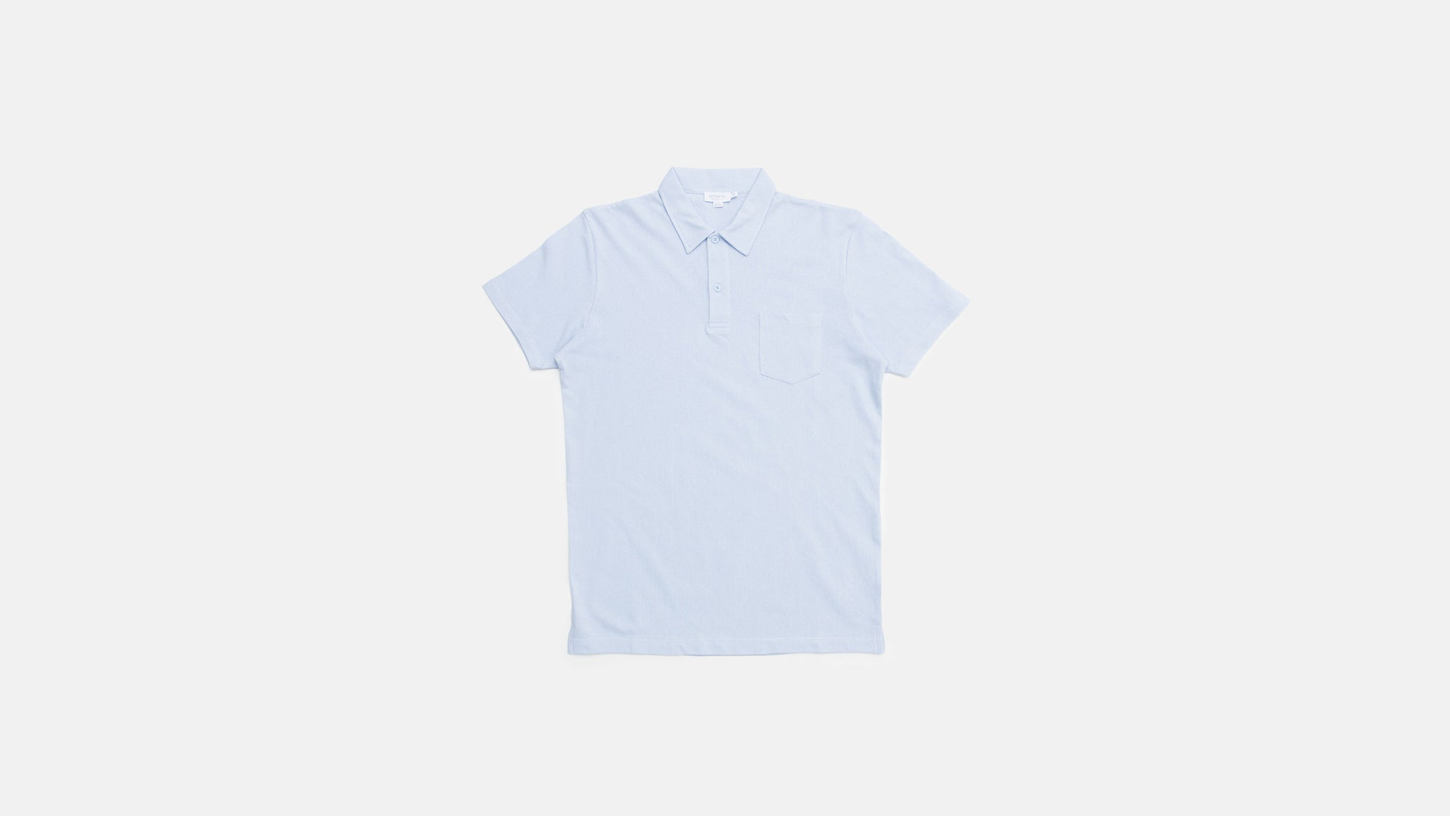 Sunspel. Cotton riviera polo shirt in sky blue