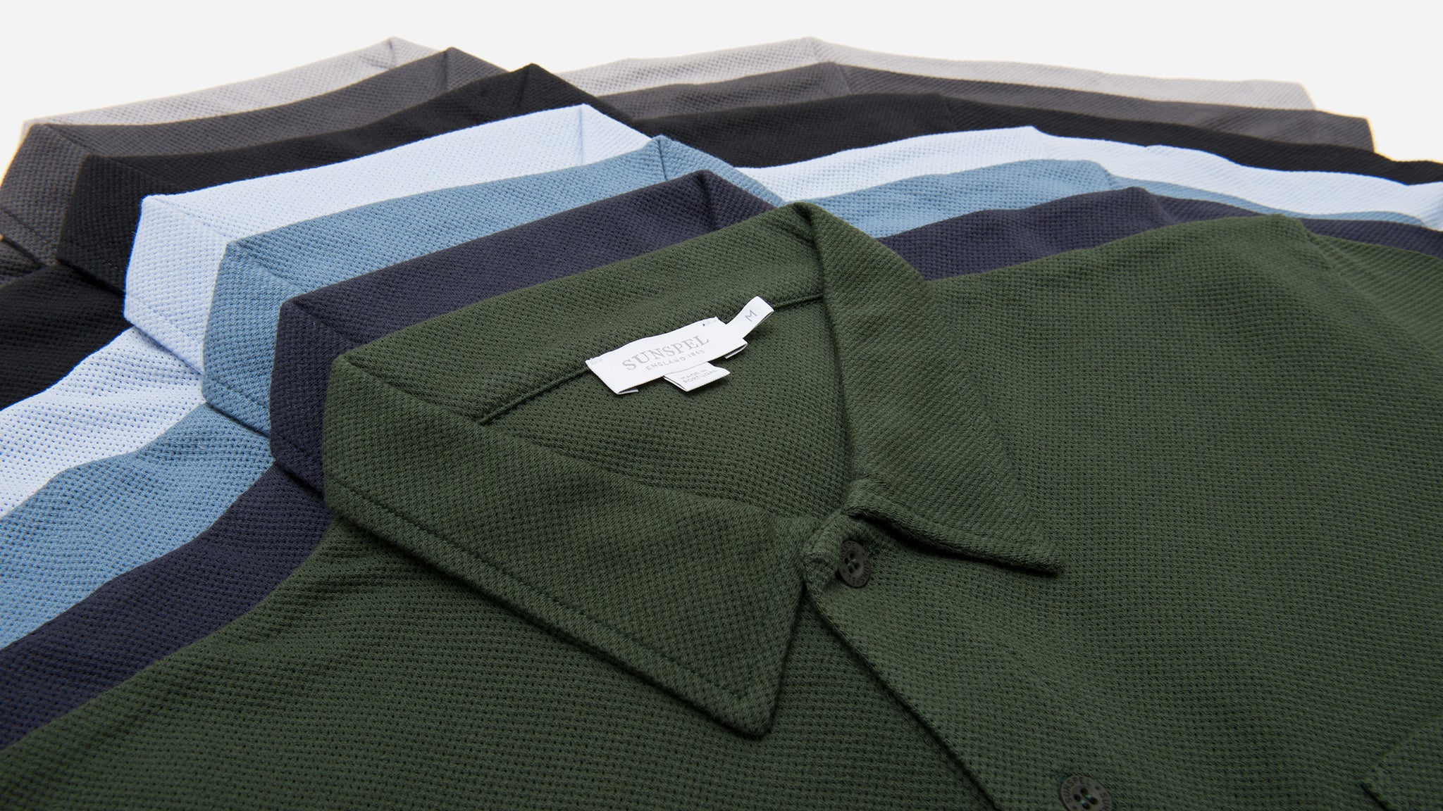 Sunspel. Cotton riviera polo shirt in dark olive