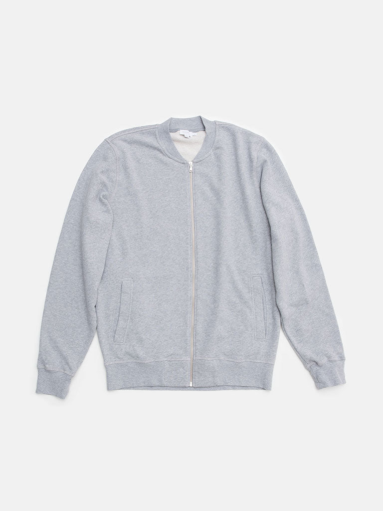 Sunspel. Cotton loopback zip bomber in grey melange