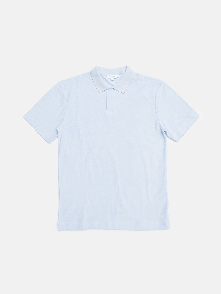 Sunspel. Cotton towelling relaxed fit polo shirt in sky blue