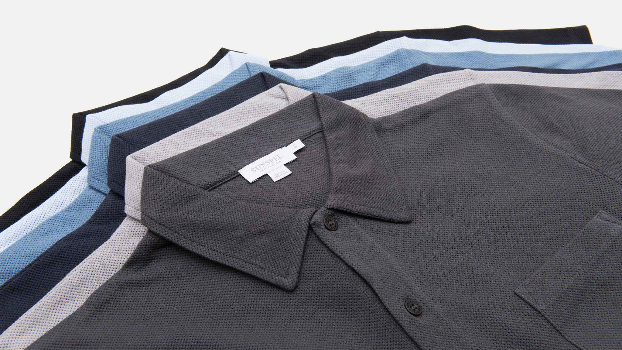 Sunspel. Cotton riviera polo shirt in charcoal