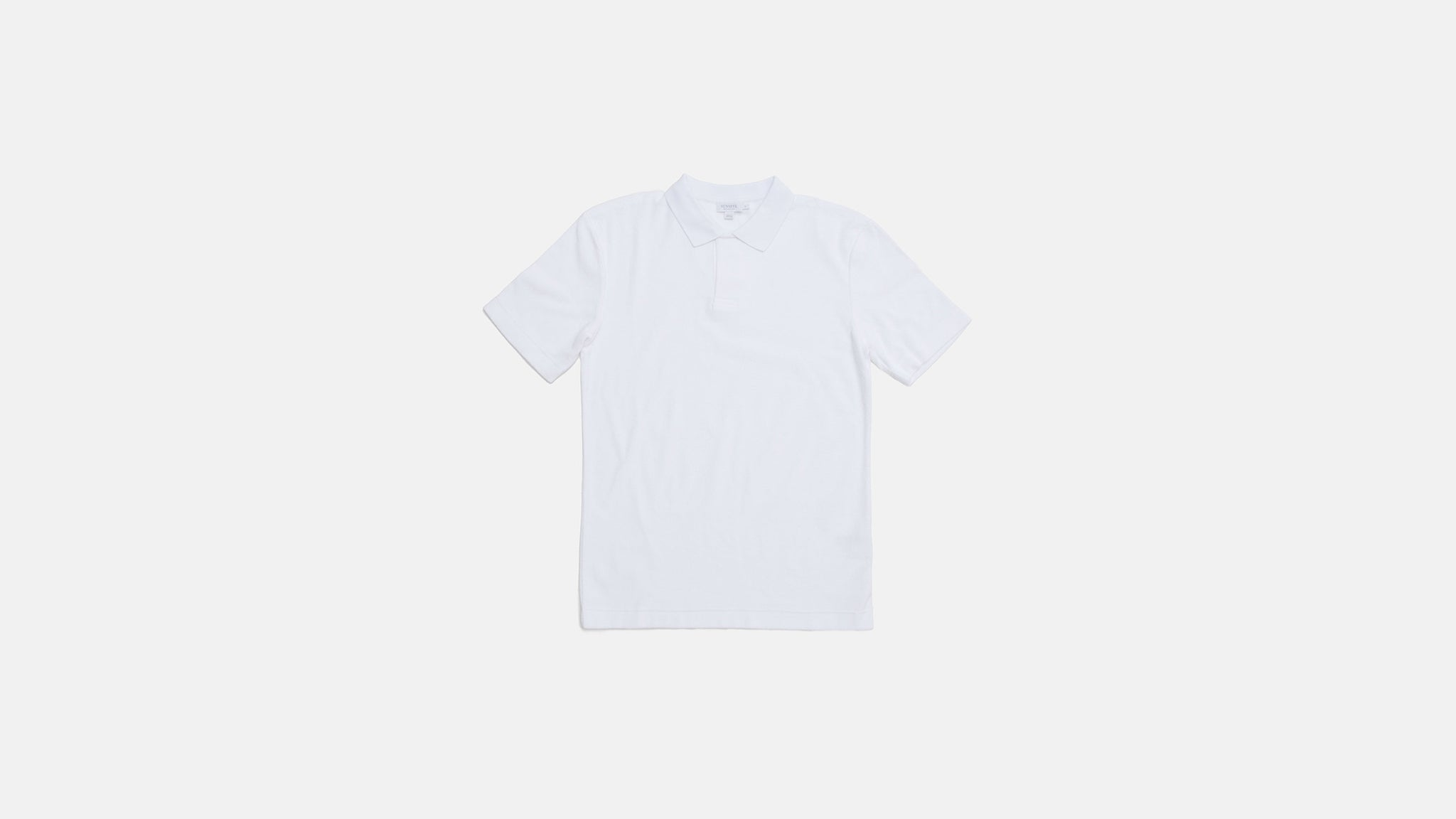Sunspel. Cotton towelling relaxed fit polo shirt in white