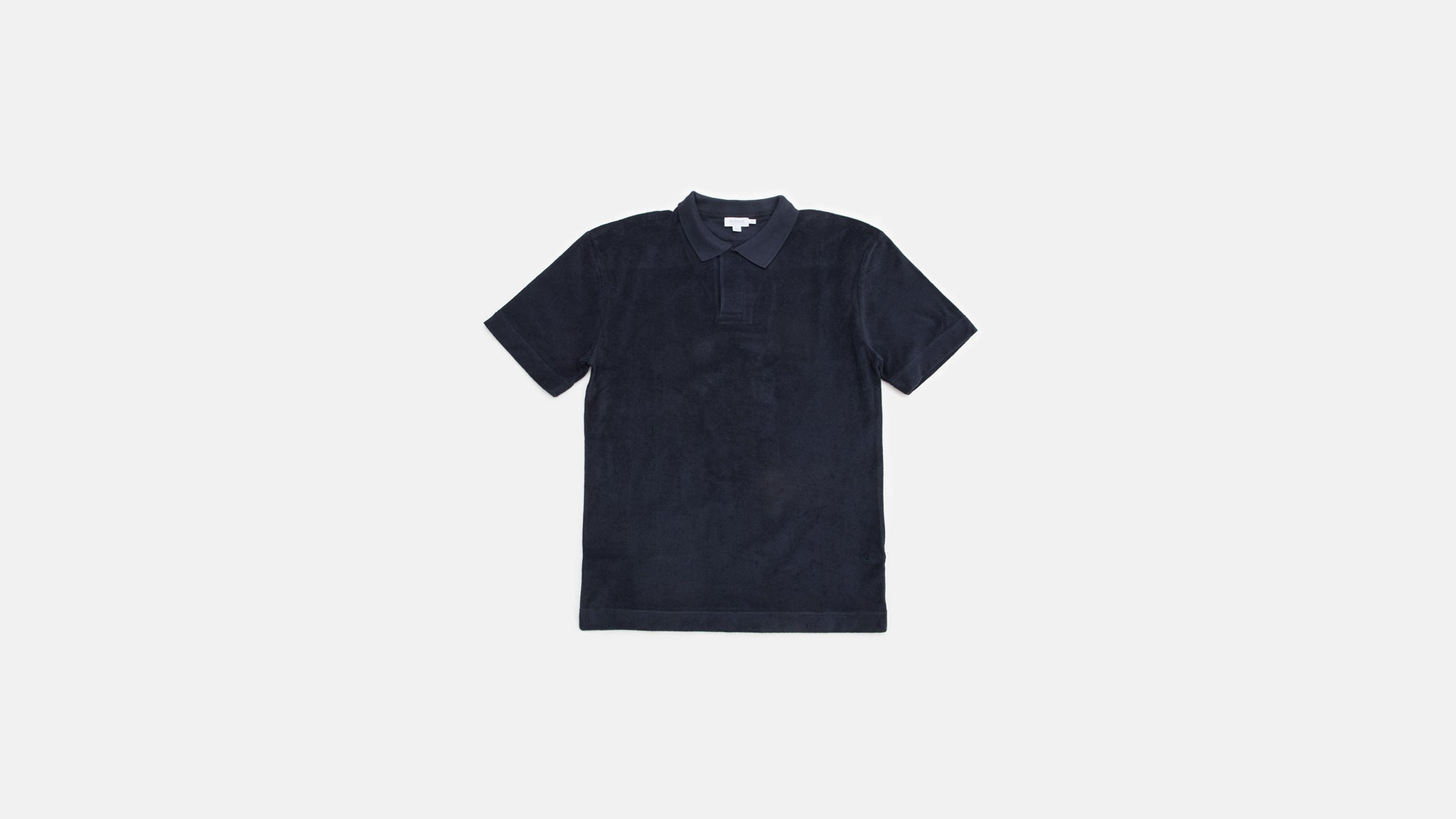 Sunspel. Cotton towelling relaxed fit polo shirt in navy