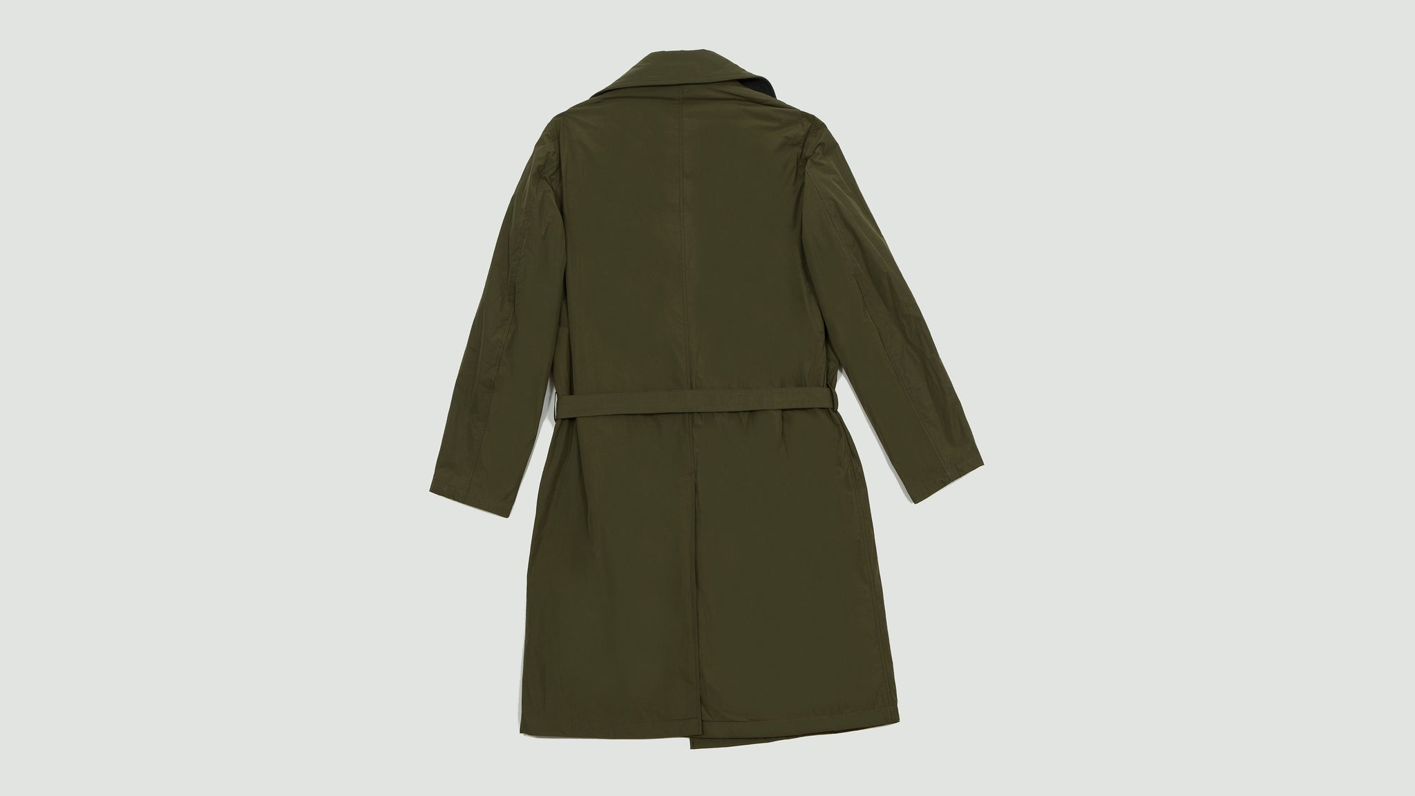 Still by Hand. Wrap coat olive