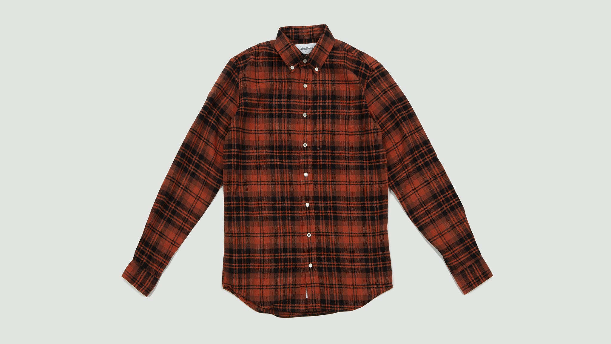 Shirt twill large check rust and black