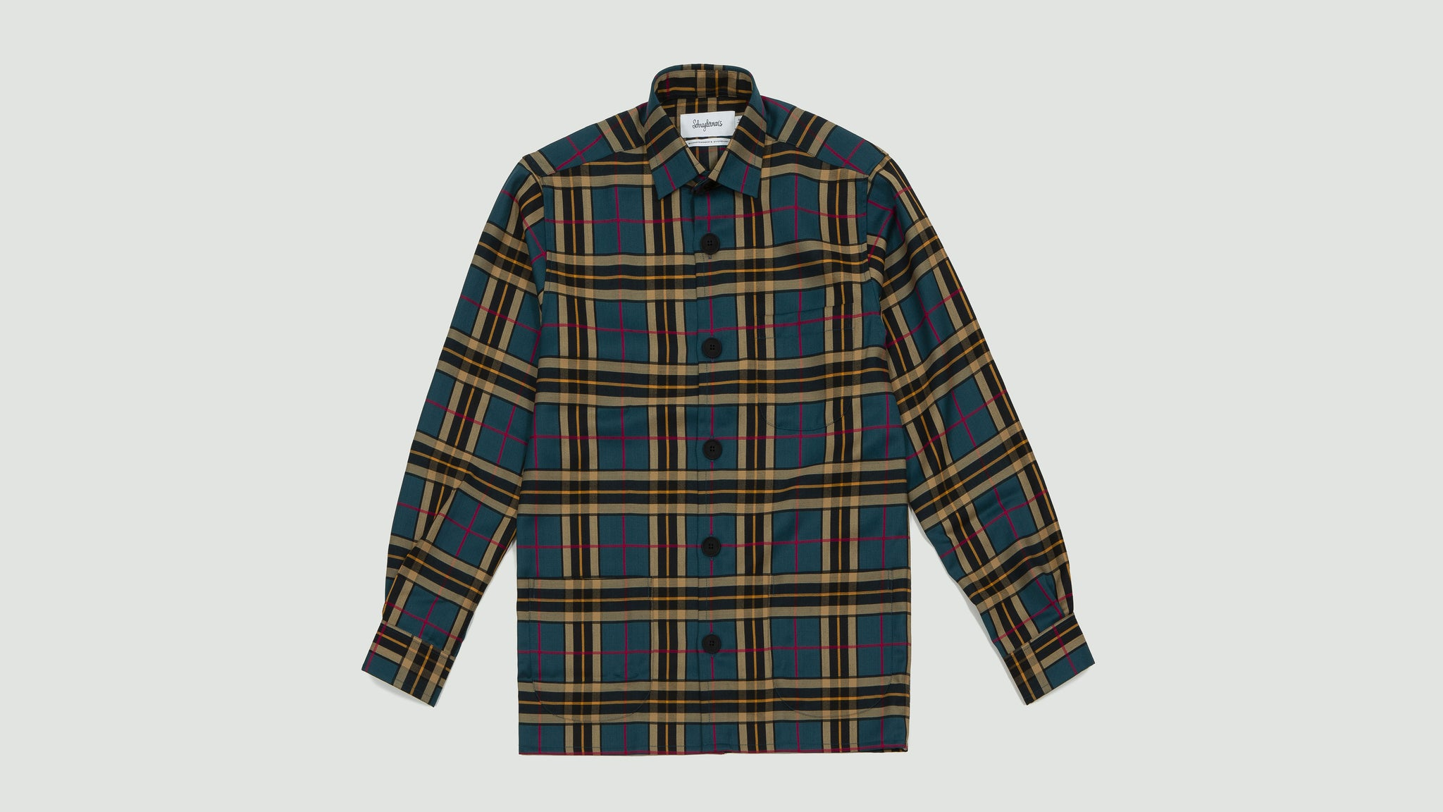 Schnayderman's. Overshirt virgin wool large check mustard and green