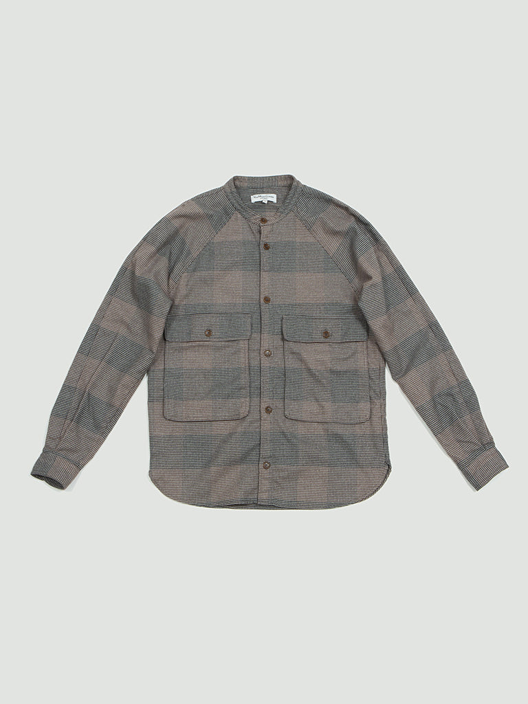 YMC. Raglan Grandad shirt brown