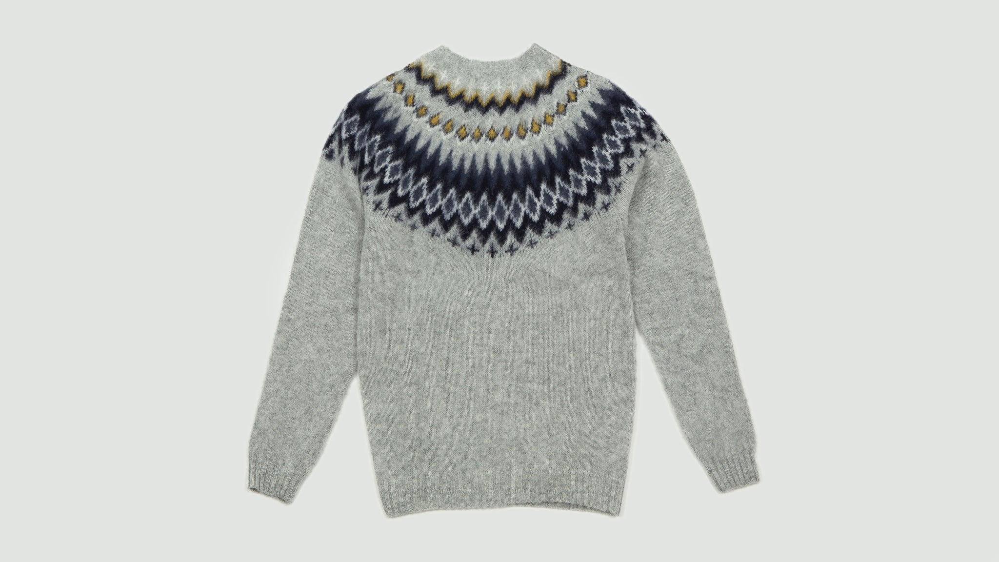 Norse Projects. Bimir fairisle light grey melange