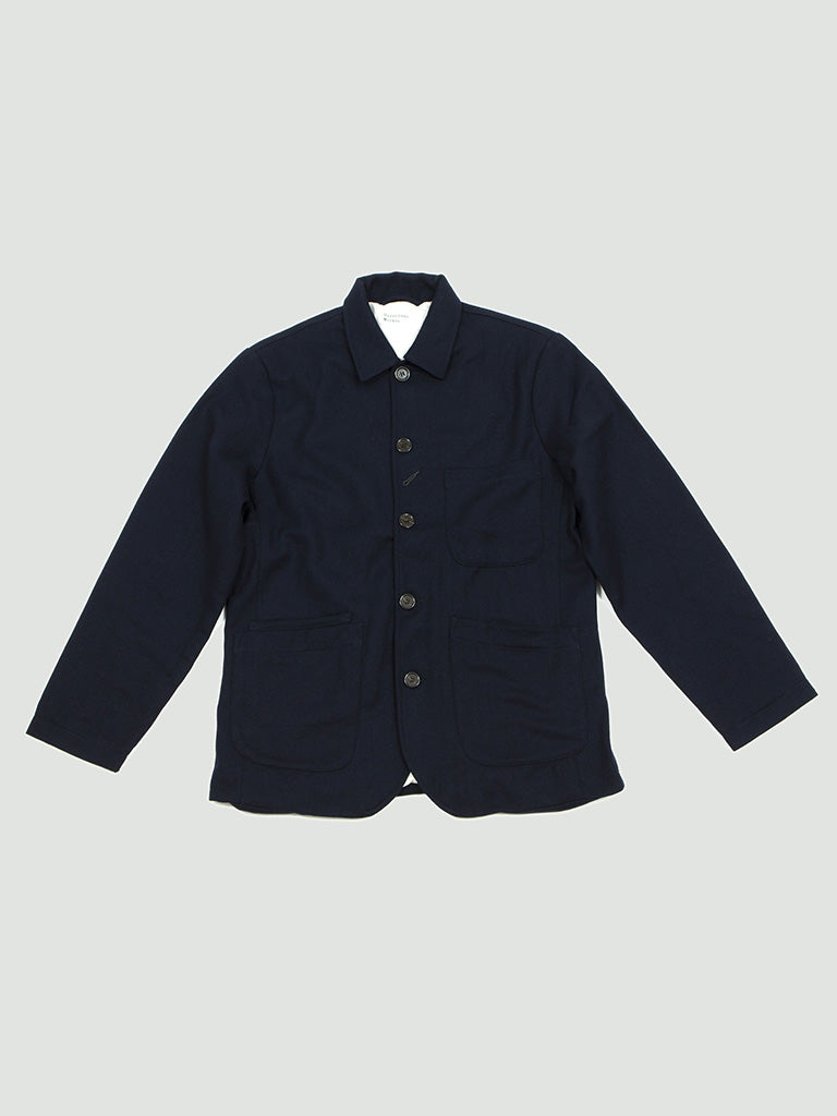 Universal Works. Bakers jacket wool twill navy