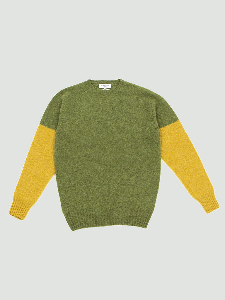 YMC. Skate or Die Crew sweater green/yellow