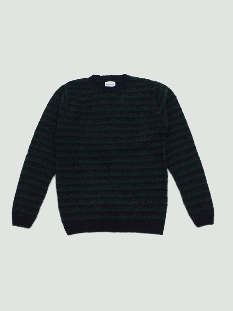 Norse Projects. Sigfried Brushed stripe dark navy