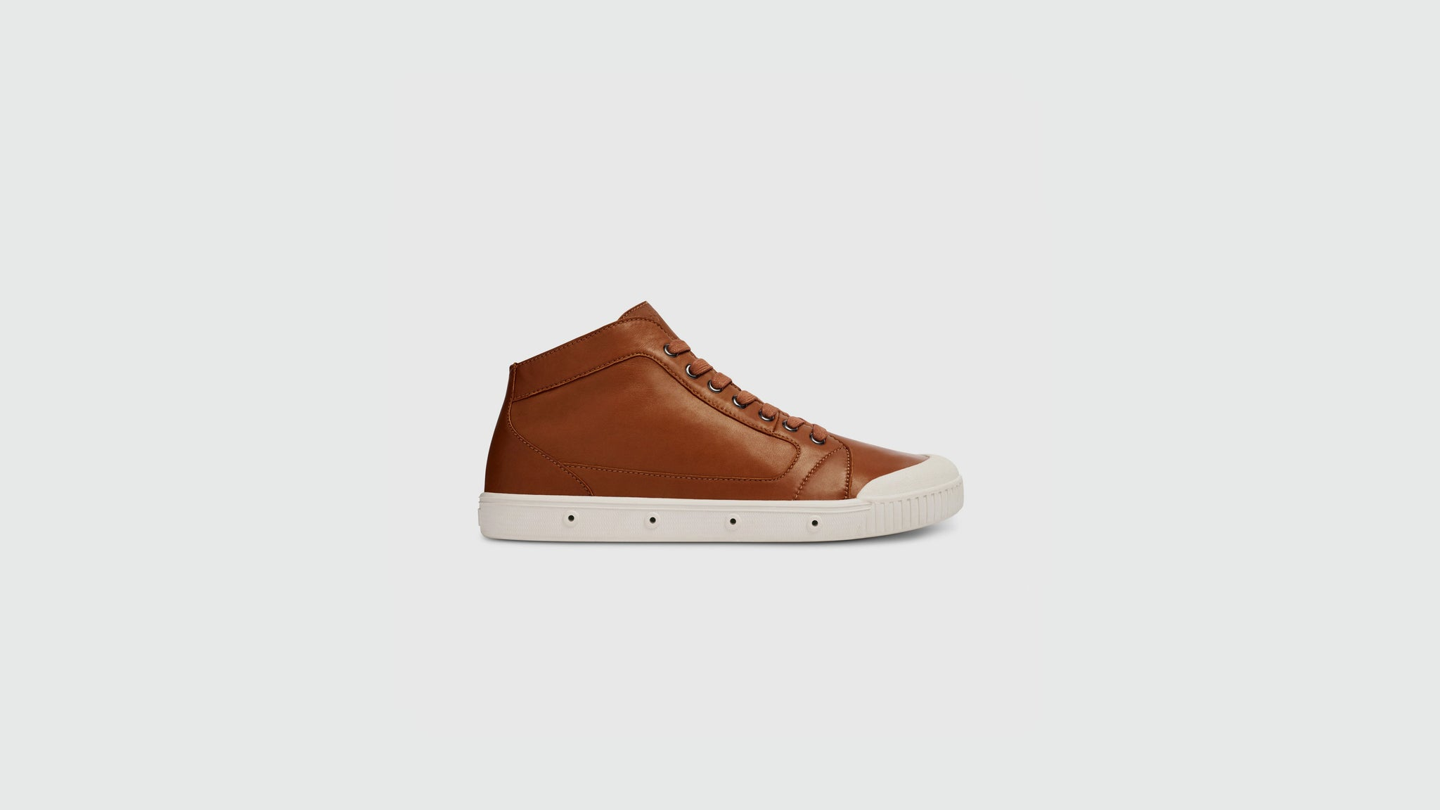 Spring Court. Brown lambskin leather sneakers