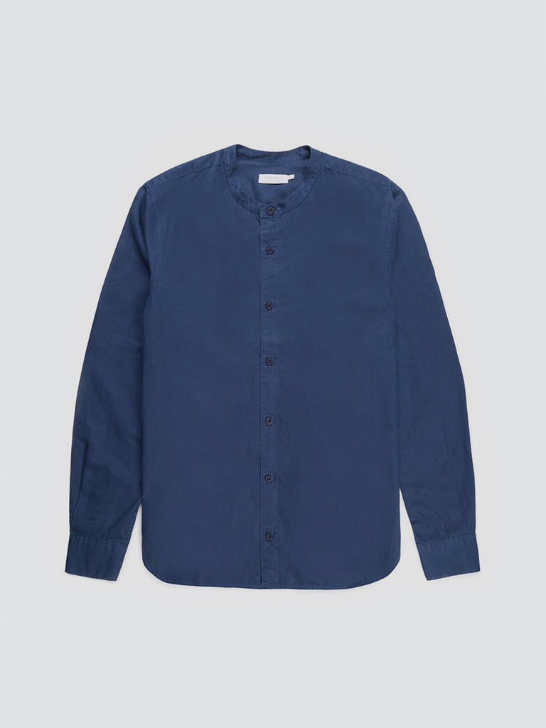 Cotton Grandad shirt from Sunspel in blue