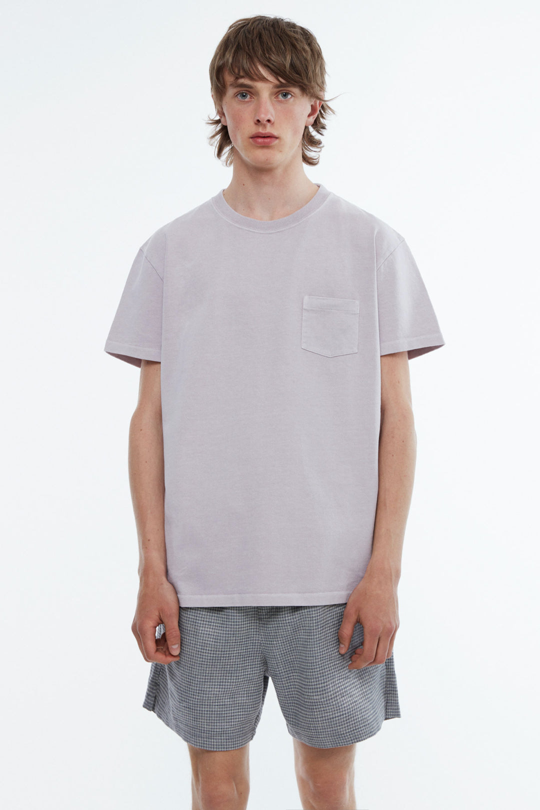 T-shirt jersey garment dyed dusty purple