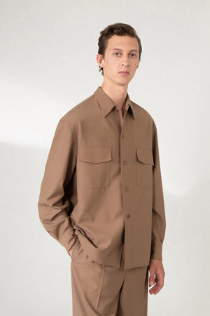 Unisex convertible collar shirt cub brown