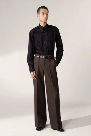 Wide leg pants dark brown