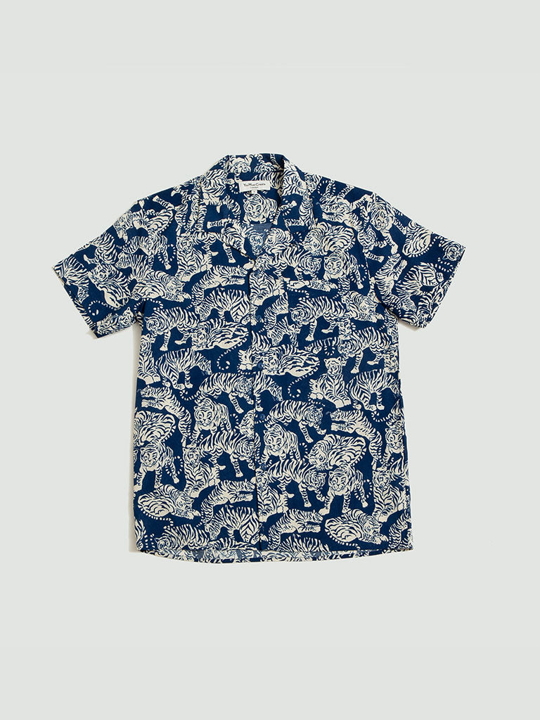 YMC. Tiger Malic Shirt blue