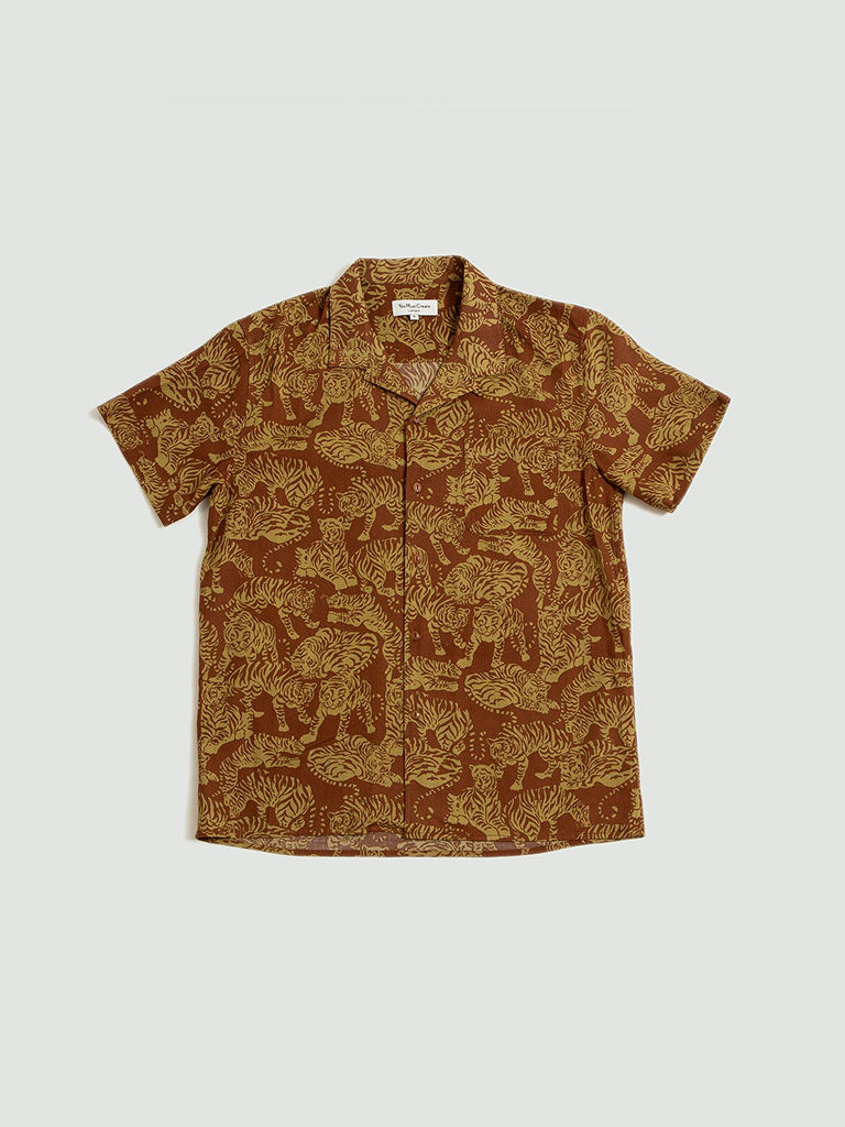 YMC. Tiger Malic Shirt brown
