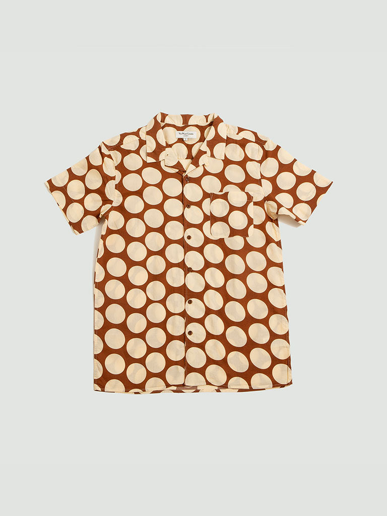 YMC. Malick spot shirt brown
