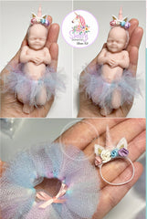 "5"" Full Body Silicone Baby Girl Blank (unpainted) Doll Kit Miniature Limited Edition by Viviane Aleluia"