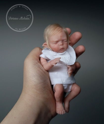 Piksy - Miniature Elf Baby Boy - Limited Edition EcoFlex Platinum Silicone by Viviane Aleluia - Sold Out Edition