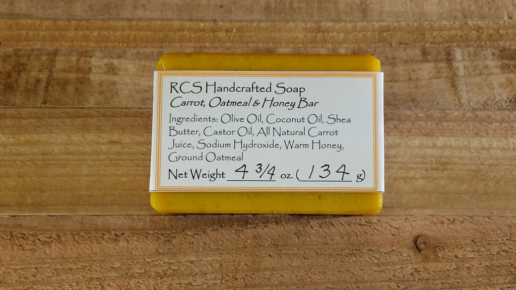 RCS Handcrafted Soap: Carrot, Oatmeal, Honey Bar
