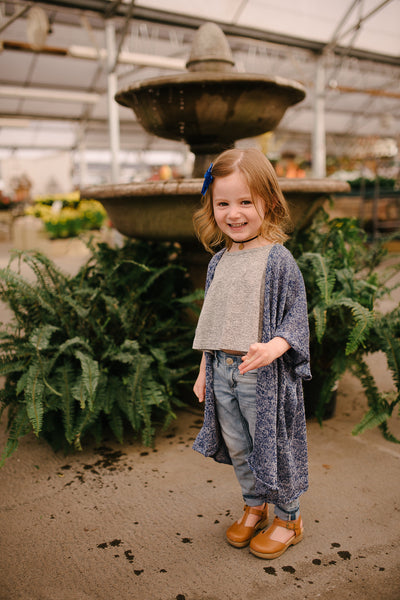 Blue Speckled Sweater Kimono (littles)