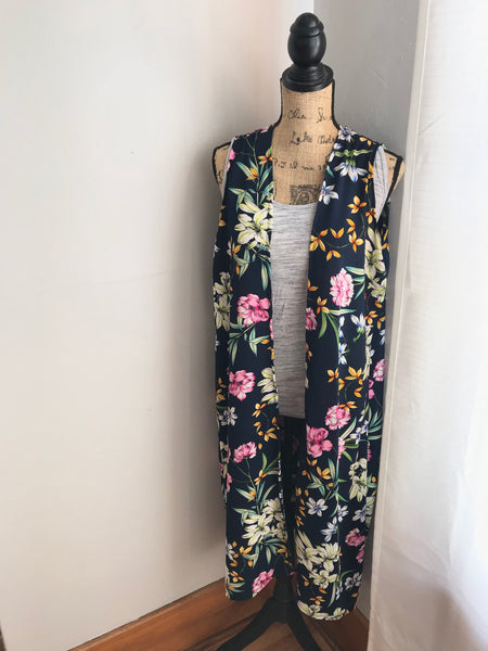 Mom and Me Navy Floral Duster Set
