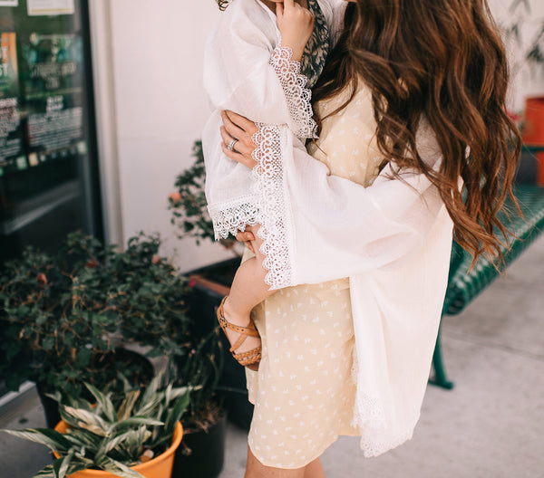 Mom and Me White Long Sleeve Gauze Kimono Set
