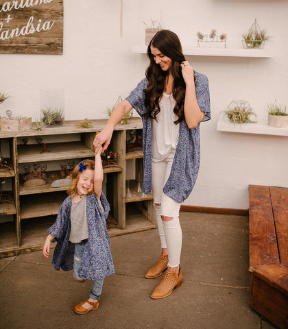 Mom and Me Blue Speckled Sweater Kimono Set