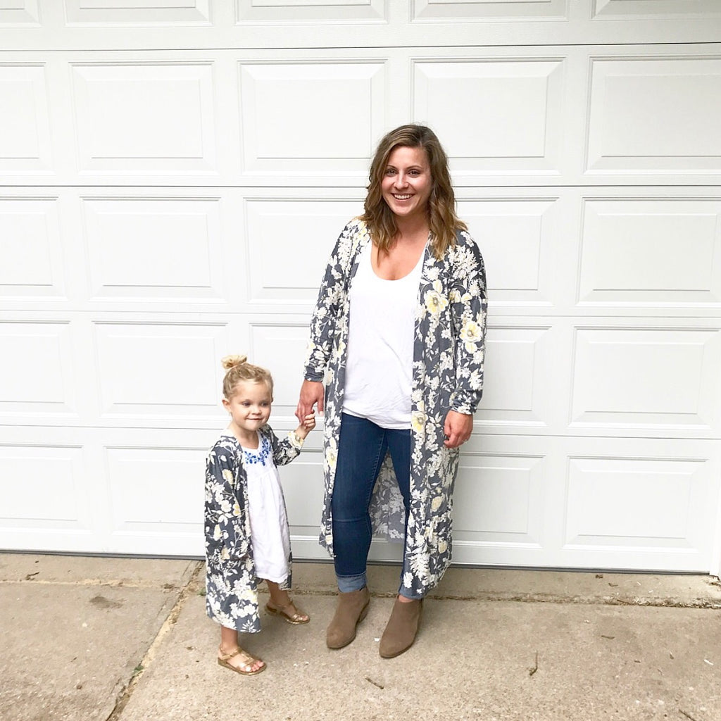 Mom and Me Wanderlust Cardigan in Yellow Floral Set
