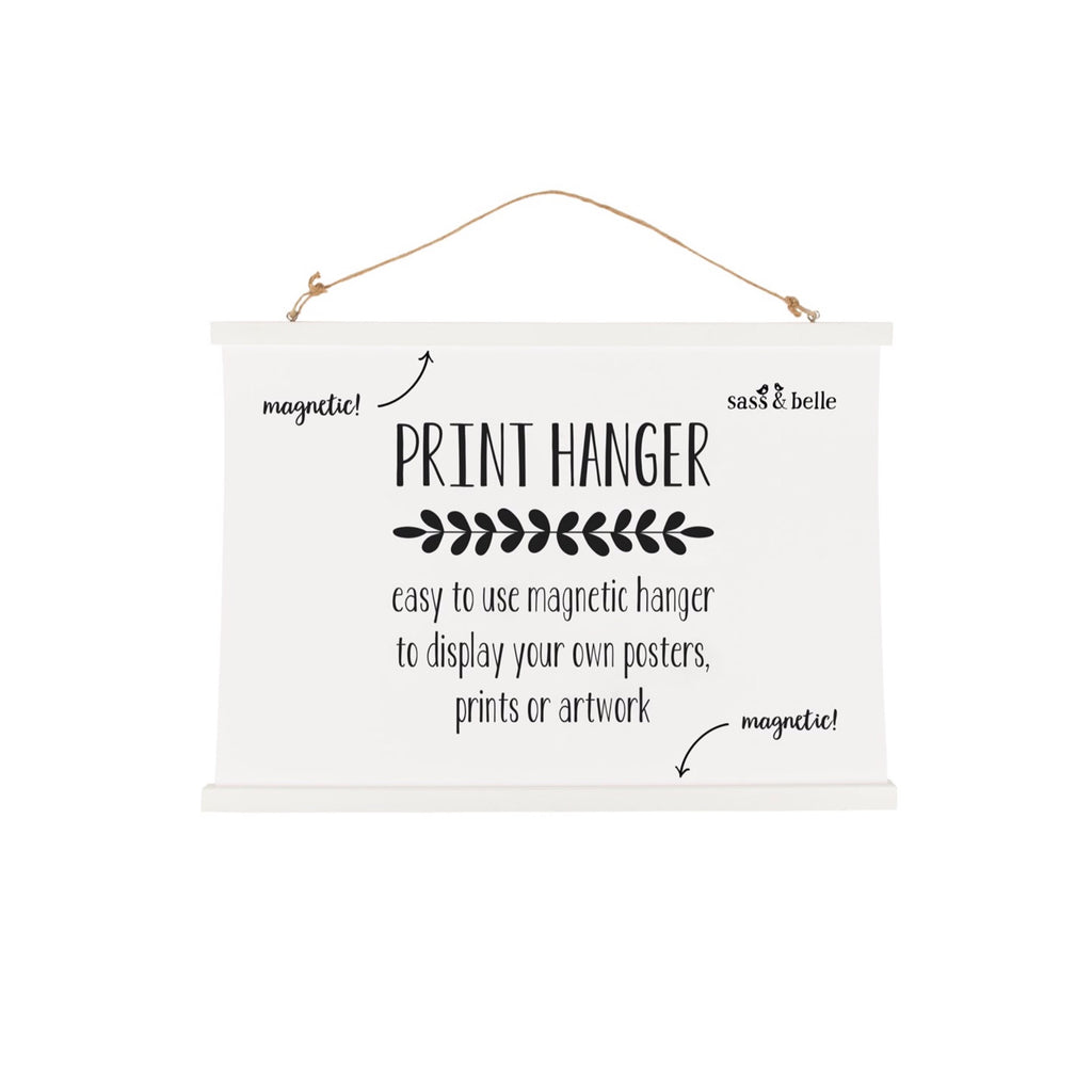 Large white print picture magnetic hanger