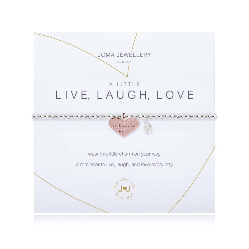 silver bracelet with rose gold heart engraved with LIVE LOVE LAUGH