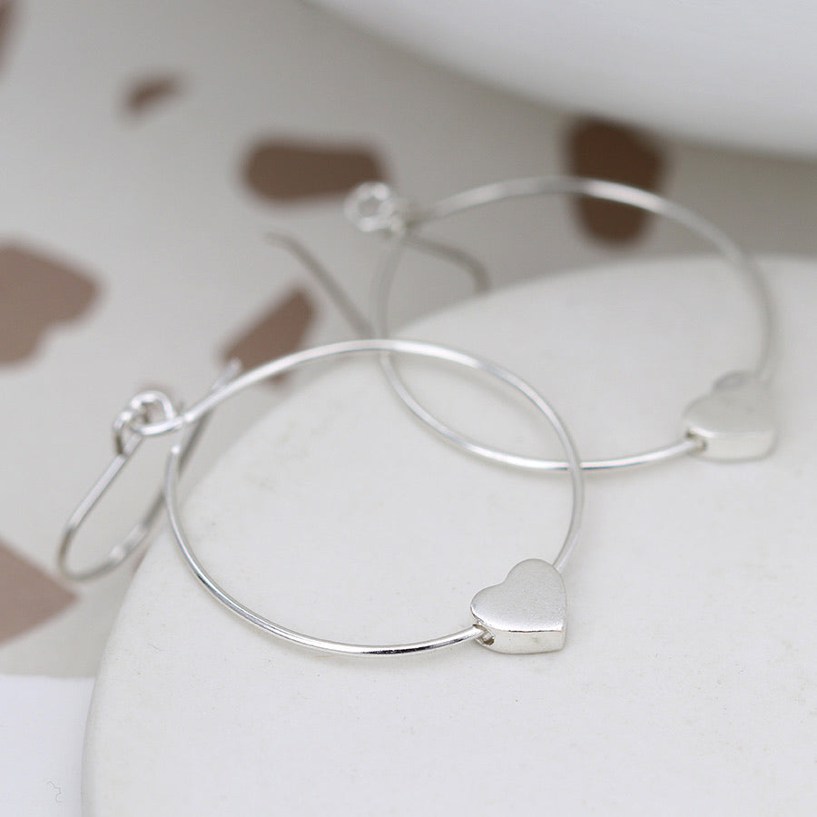 sterling silver hoop earrings with heart