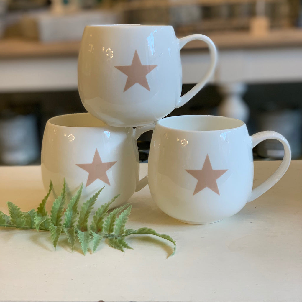 Pink star fine bone china hug mug