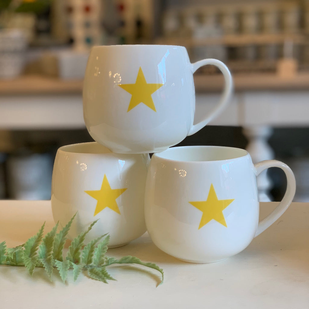 Yellow star fine bone china hug mug