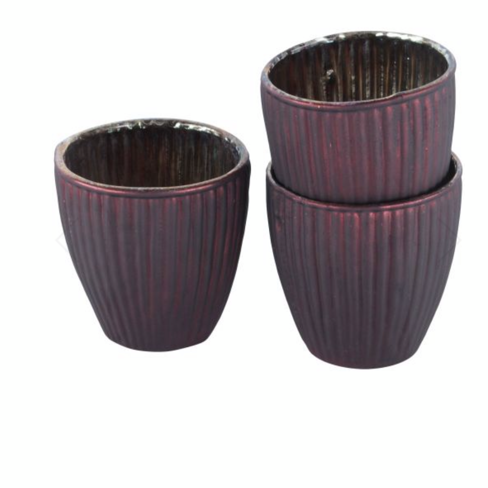 Dark Red Ribbed Votive's