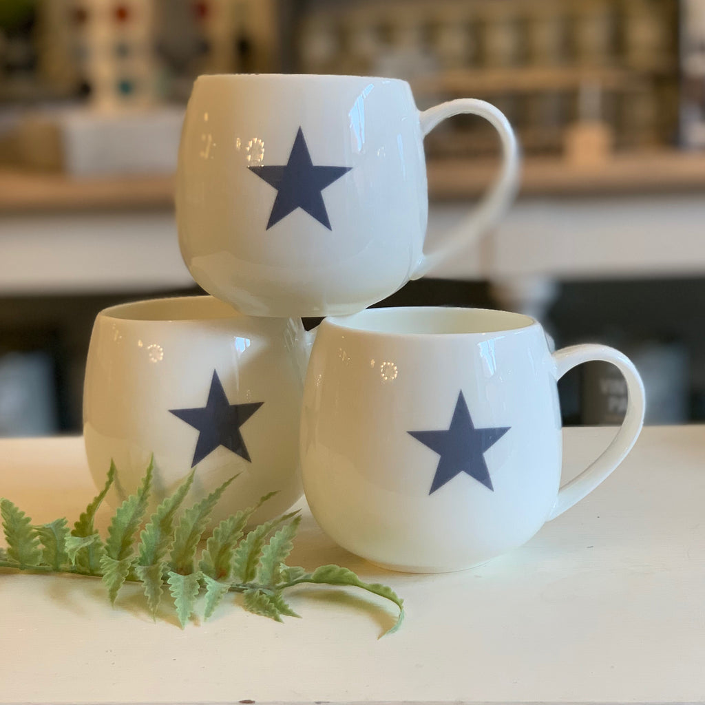 Blue star fine bone china hug mug