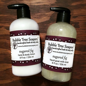 Sugared Fig Lotion and Liquid Soap Set - Bubble Tree Soapery