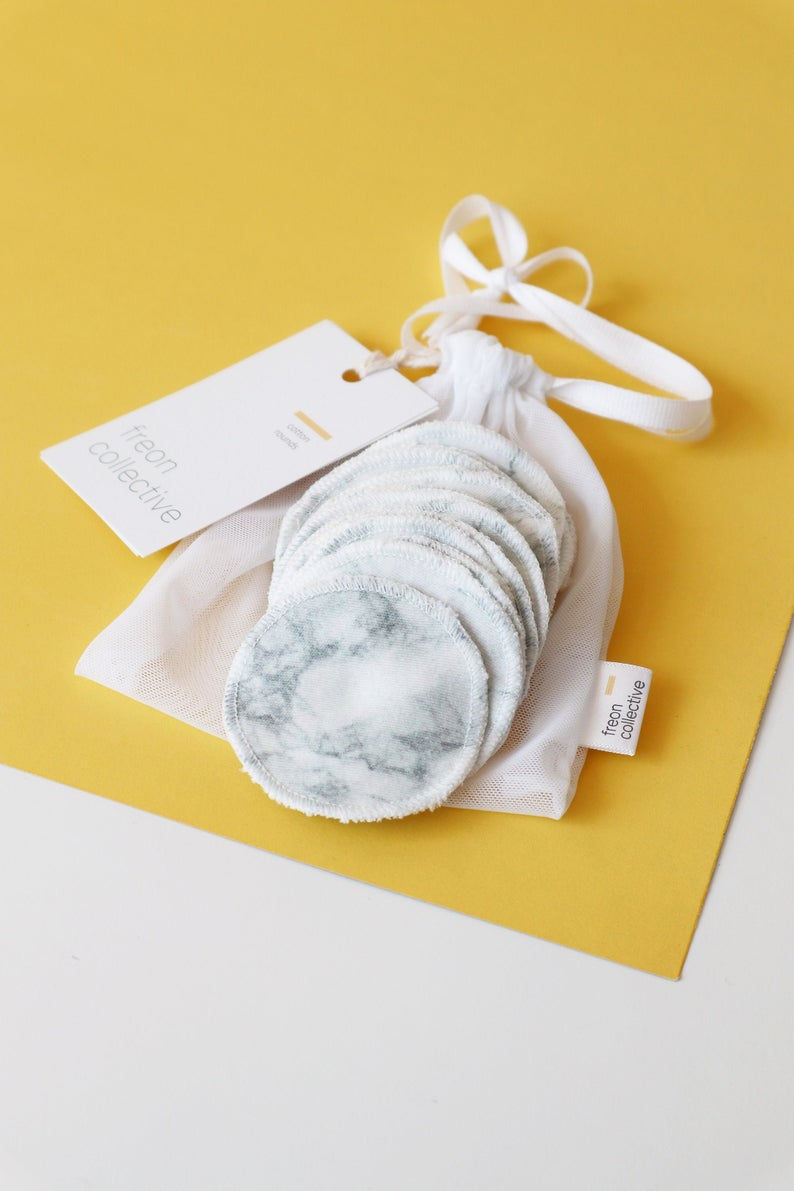 100% organic cotton reusable rounds - grey marble