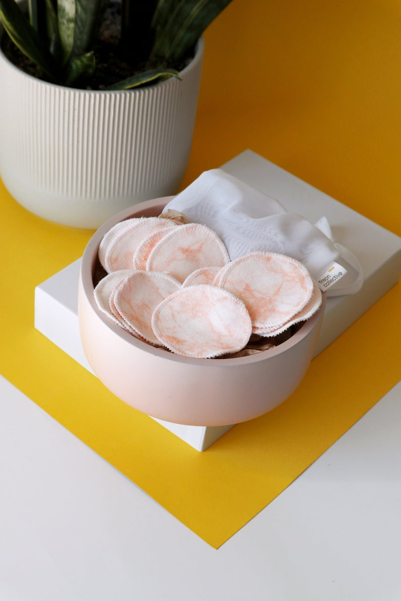 100% organic cotton reusable rounds - pink marble