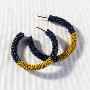 seed bead hoops- navy+ citron