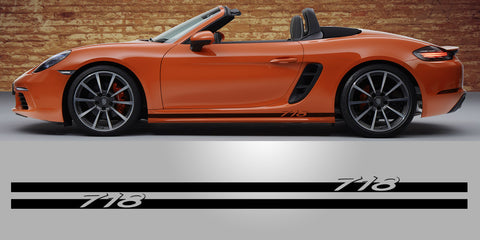 Porsche Cayman Boxster 718 Lower Rocker Script Decal