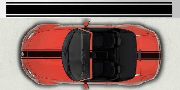 Mazda Miata Mx 5 Vinyl Center Racing Triple Stripe