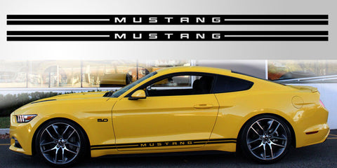 Mustang lettered double stripe vinyl decal graphic